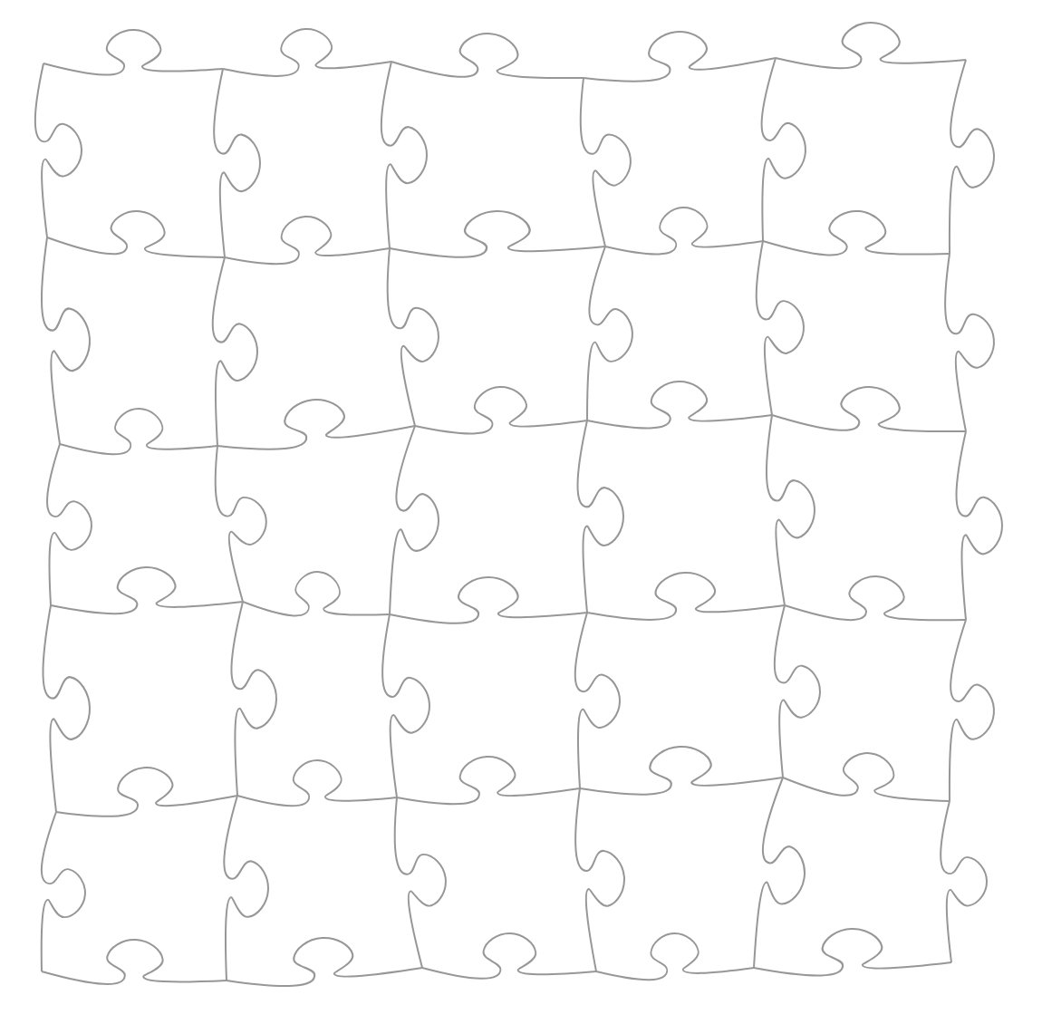 A grid of mostly-identical jigsaw puzzles