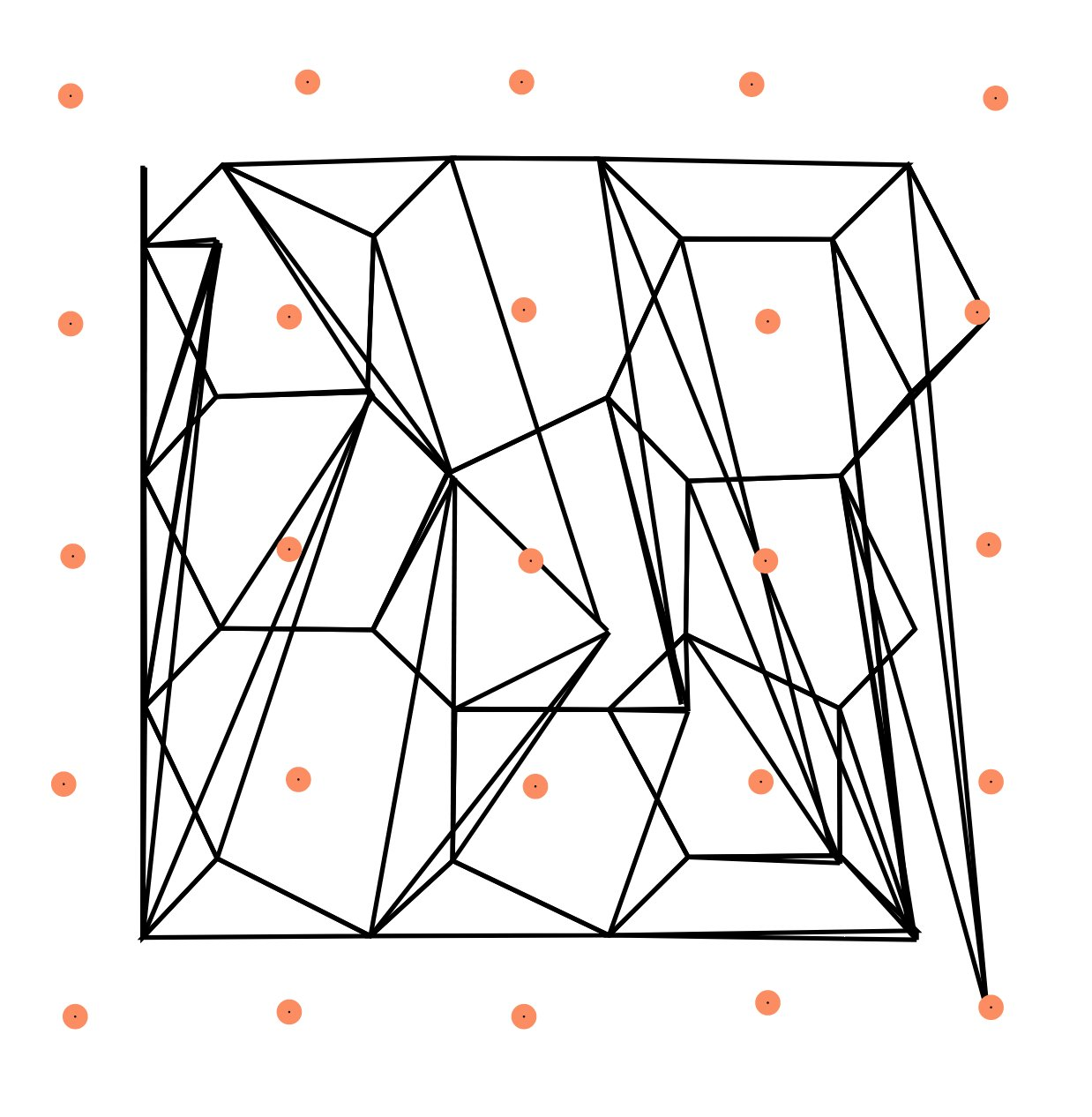 A grid of orange dots and some black lines between them. Something looks weird - the lines skew off in random directions!