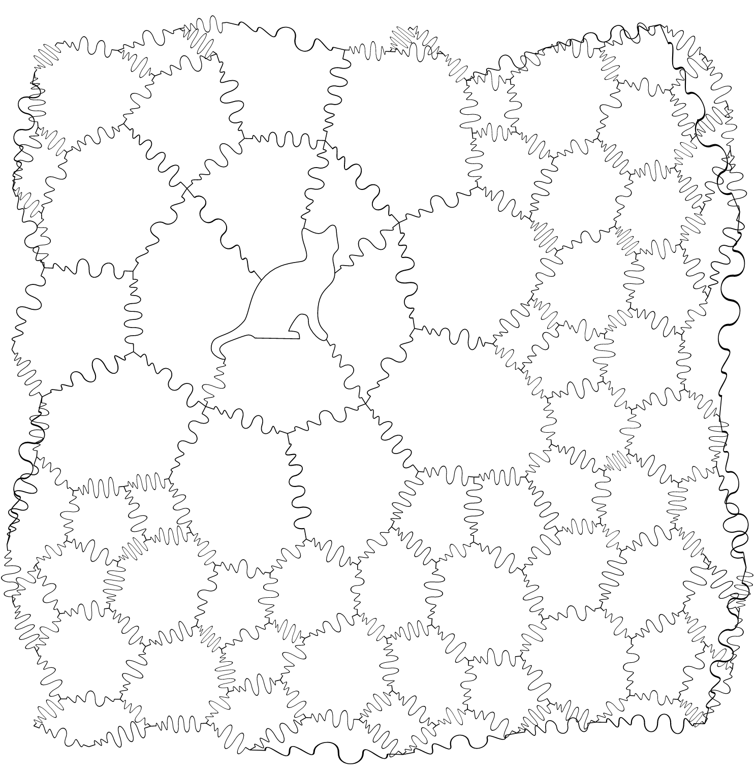 A black-and-white outline of a jigsaw puzzle. There's a cat shaped piece in the top left.